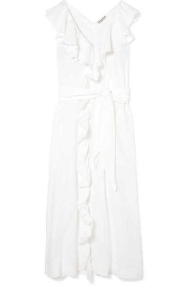 THREE GRACES LONDON Mable Ruffled Linen Midi Dress in White