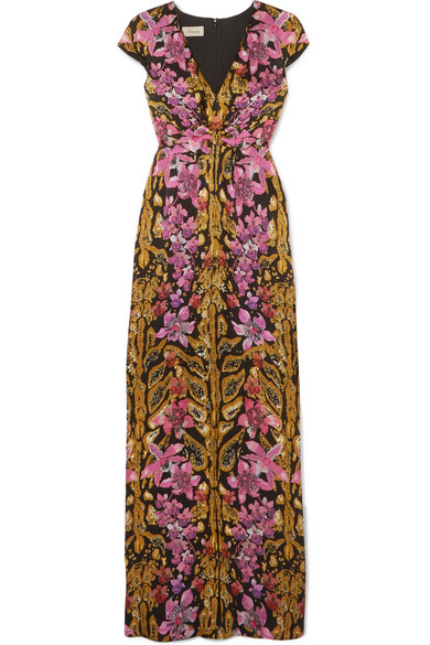 BOW-EMBELLISHED PRINTED HAMMERED-SILK GOWN