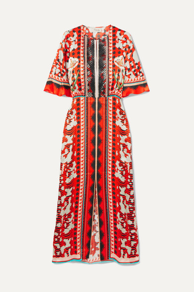 TEMPERLEY LONDON ODYSSEY LACE-TRIMMED PRINTED HAMMERED-SILK MIDI DRESS