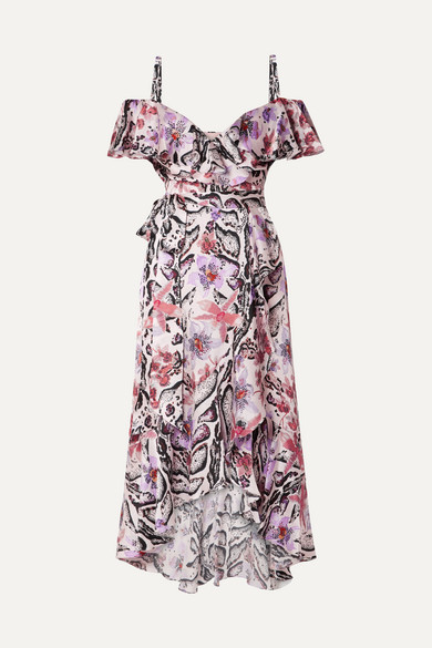 Ruffled Printed Hammered Silk-Satin Midi Dress in Purple
