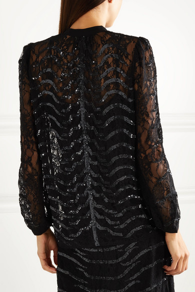 bb9082e918c5ba Temperley London. Panther pussy-bow sequined lace blouse. $670 $26860% OFF.  Reduced further. Play