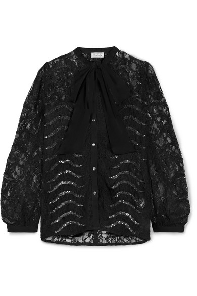 PANTHER PUSSY-BOW SEQUINED LACE BLOUSE