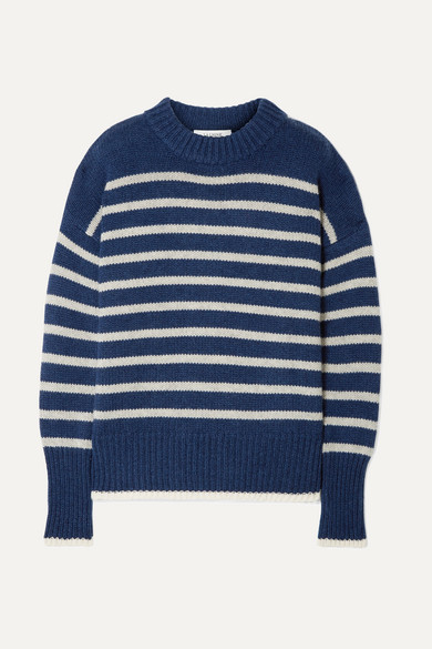 LA LIGNE Marin Striped Cashmere And Wool-Blend Sweater in Navy