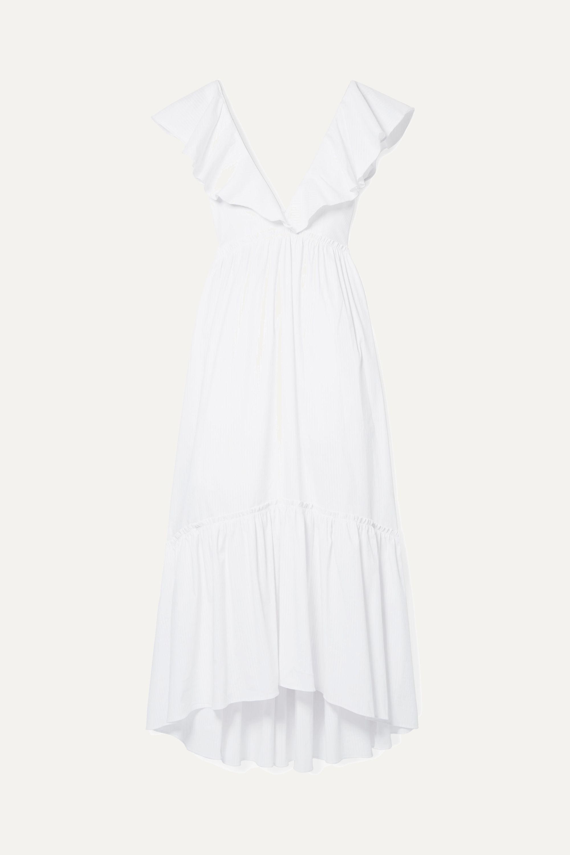 La Ligne D'été ruffled striped cotton-blend midi dress