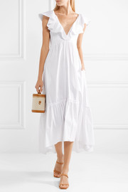D'été ruffled striped cotton-blend midi dress