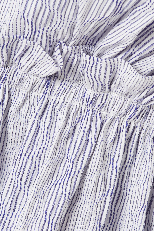 La Ligne Grosgrain-trimmed striped cotton-blend poplin top