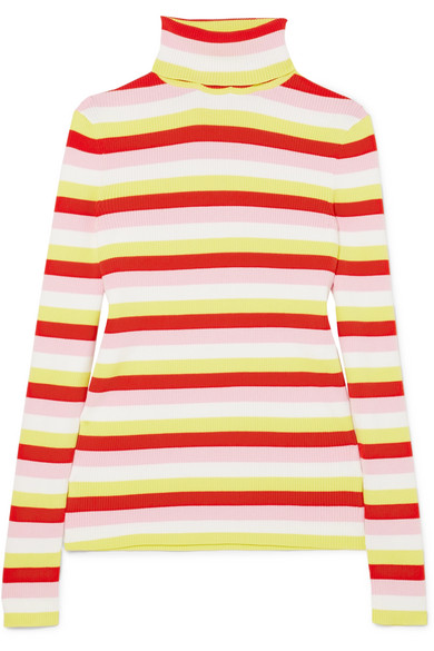 Tick Striped Ribbed Stretch-Cotton Jersey Turtleneck Sweater, Red