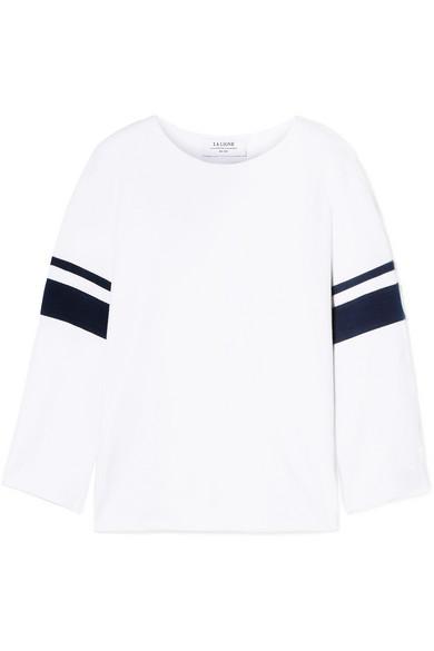 LA LIGNE Striped Cotton-Jersey Top in White