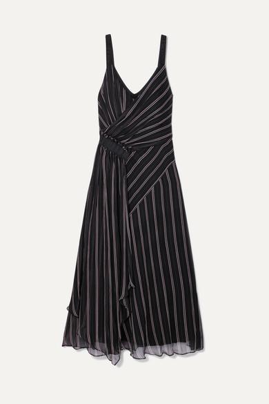 Striped Gathered Silk-Chiffon Wrap-Effect Midi Dress, Black