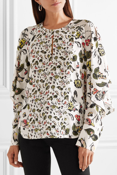 Ruffled Floral-print Silk Crepe De Chine Shirt - Off-white Jason Wu Grey Quality For Sale Free Shipping Finishline Online 0pvL18fsJ