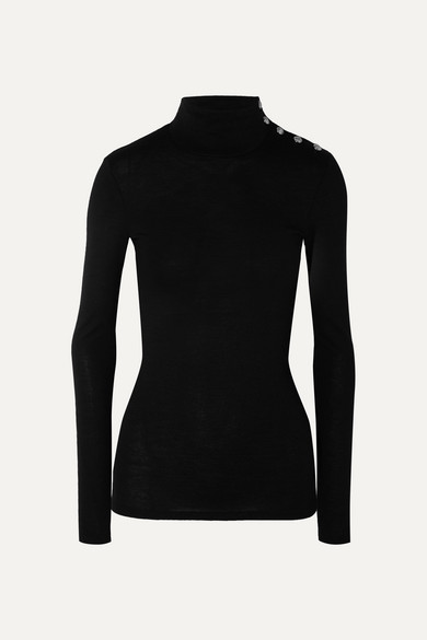 Button Embellished Wool And Cotton Blend Turtleneck Sweater by Balmain
