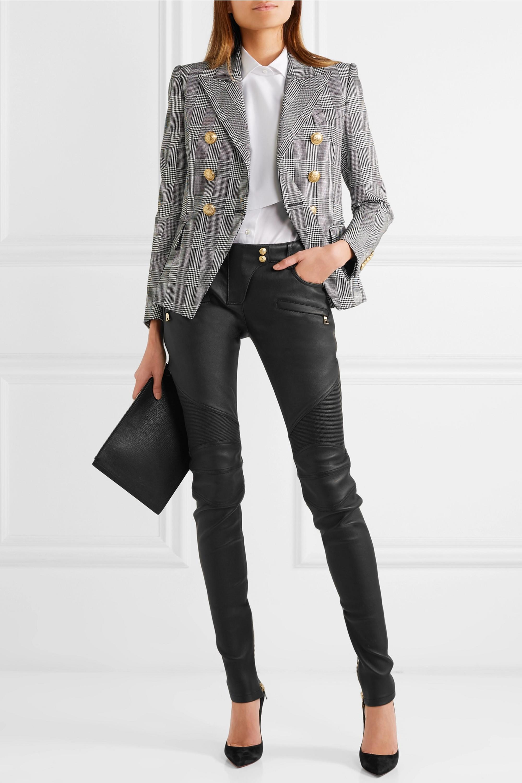 Balmain Ribbed leather skinny pants