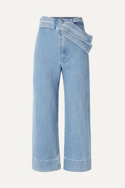 Merida cropped belted high-rise wide-leg jeans