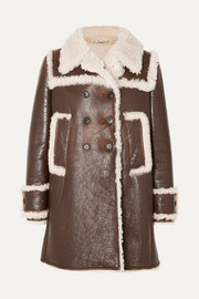 Shearling-trimmed textured-leather coat