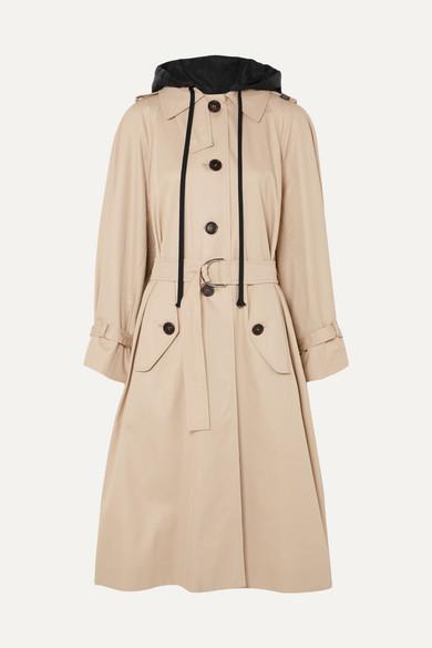 Oversized Cotton-Poplin Trench Coat, Beige