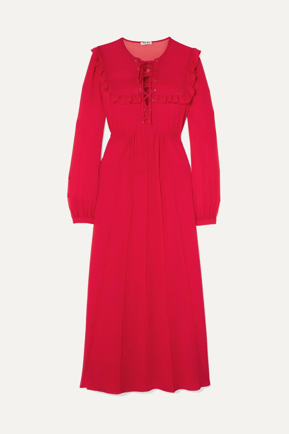 Miu Miu Ruffled silk-georgette midi dress