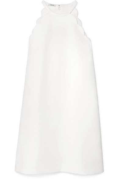 BOW-EMBELLISHED SCALLOPED CADY MINI DRESS