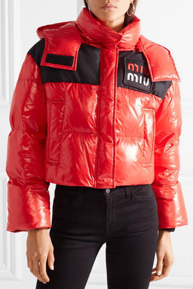 Miu Miu Jackets Cropped two-tone quilted shell down jacket