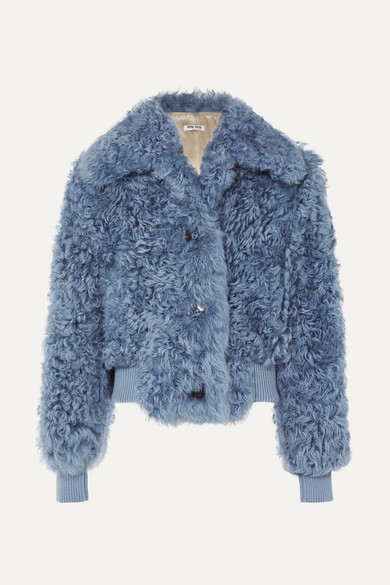 Cropped Shearling Jacket, Blue