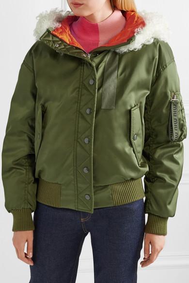 Miu Miu Jackets Shearling-trimmed shell down bomber jacket