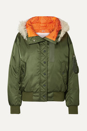 Shearling-trimmed shell down bomber jacket