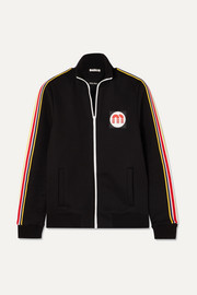 Striped cotton-blend jersey track jacket