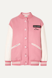 Miu Miu Oversized two-tone leather and wool bomber jacket