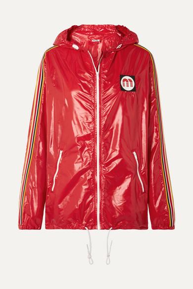Miu Miu - Hooded Webbing-trimmed Shell Jacket - Red