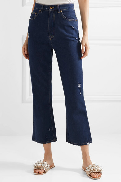 Footlocker Finishline Cropped Distressed Lace-trimmed High-rise Flared Jeans - Blue Miu Miu Cheapest Price 8rNtIRm