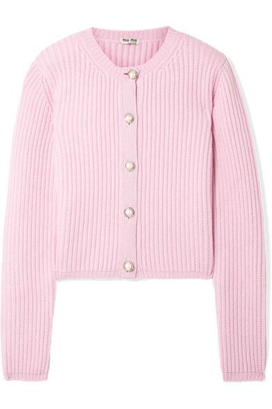 d1d31e5e61a8 Miu Miu. Embellished ribbed cashmere cardigan