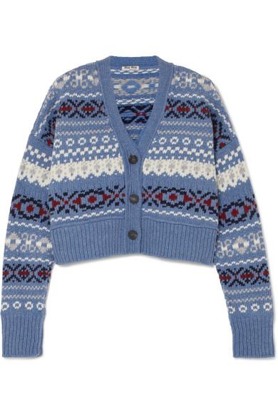 Cropped Fair Isle Wool Cardigan by Miu Miu