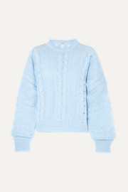 Oversized cable-knit mohair-blend sweater