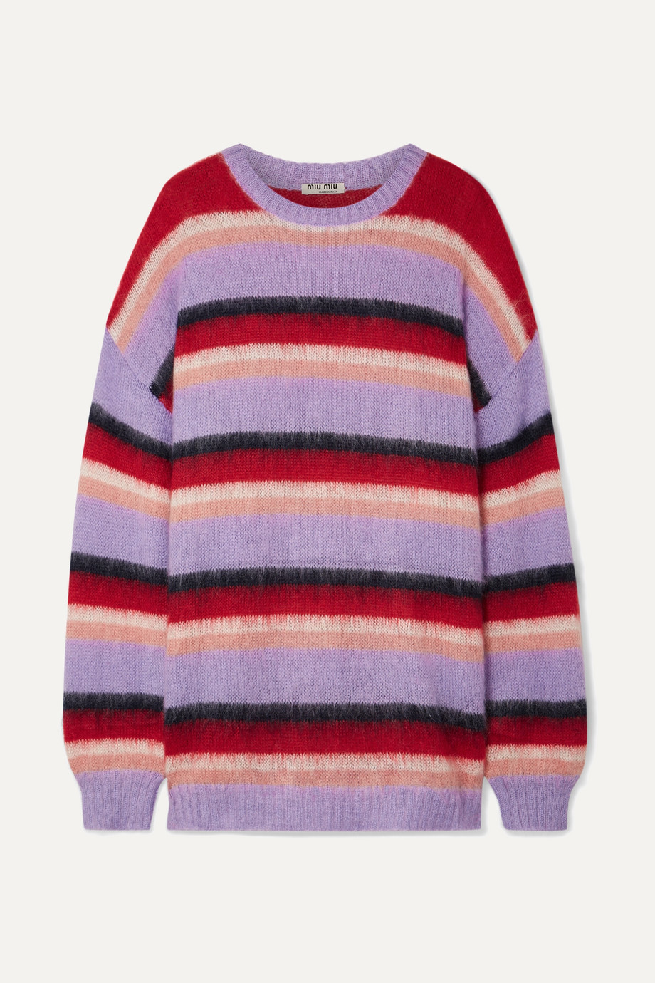Miu Miu Gestreifter Oversized-Pullover aus einer Mohairmischung