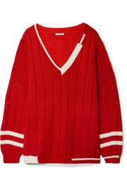 Miu Miu Oversized striped ribbed wool sweater