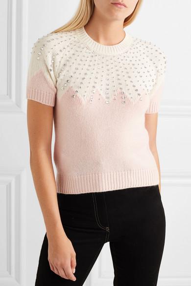 Miu Miu Knits Cropped embellished two-tone cashmere sweater