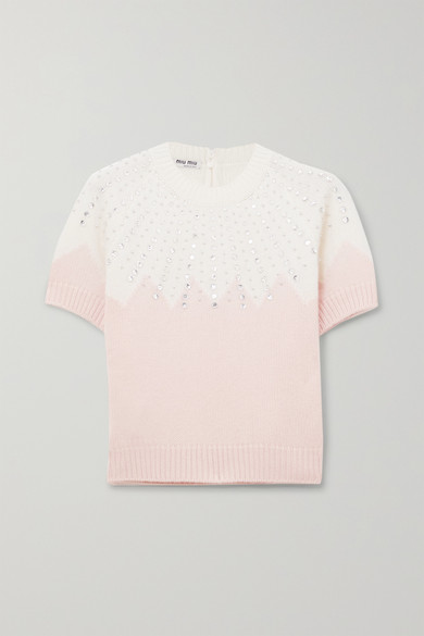 Cropped Embellished Two Tone Cashmere Sweater by Miu Miu