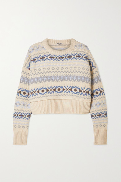 Cropped Fair Isle Wool Sweater by Miu Miu