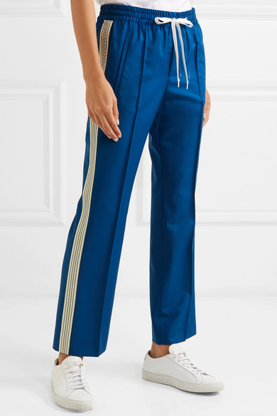 Miu Miu Pants Striped wool and mohair-blend track pants
