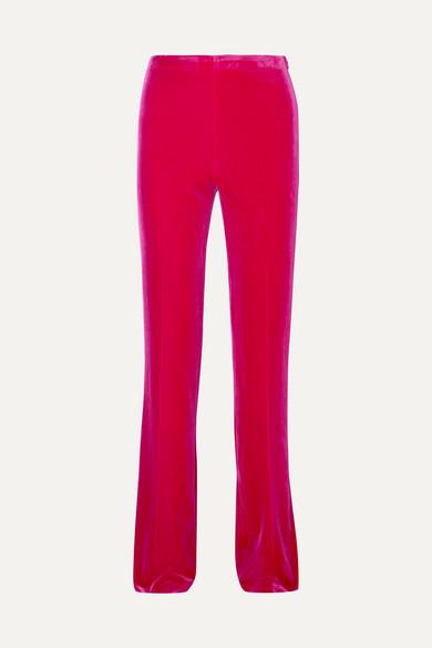 Stretch-Velvet Flared Pants, Pink