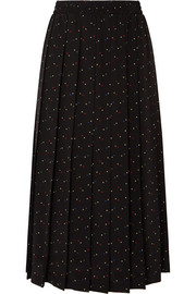 Miu Miu Pleated printed silk crepe de chine midi skirt