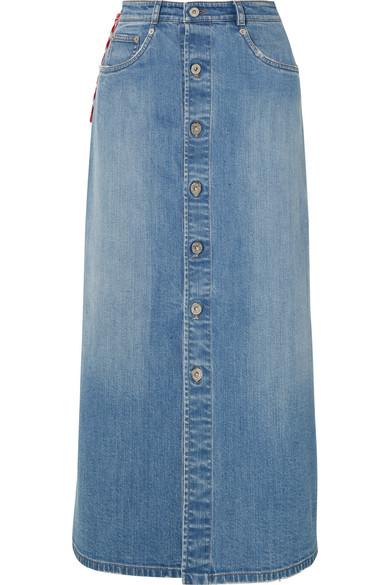 Miu Miu - Denim Midi Skirt - Blue