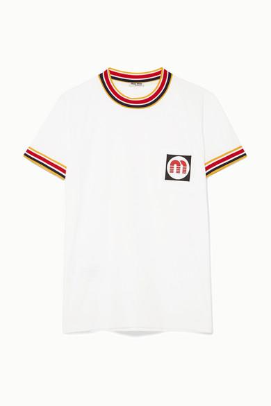 Striped Rubber Logo Patch T Shirt In White from MIU MIU