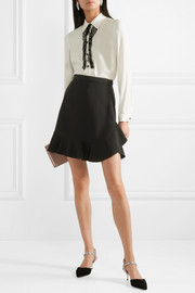 Miu Miu Crystal-embellished lace-trimmed crepe de chine blouse