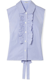 Miu Miu Striped ruffled cotton-poplin blouse