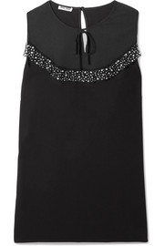 Miu Miu Embellished lace and tulle-trimmed crepe de chine blouse