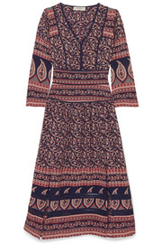 Aurora printed cotton midi dress