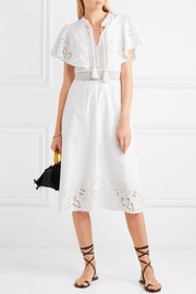 Lace-trimmed broderie anglaise cotton midi dress