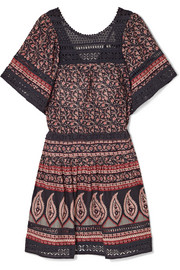 Aurora crochet-paneled printed cotton-voile mini dress