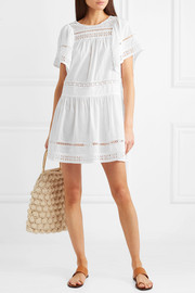Aurora crocheted-paneled cotton-voile mini dress
