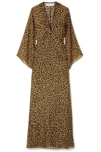 MICHELLE MASON WRAP-EFFECT LEOPARD-PRINT SILK-CHIFFON MAXI DRESS